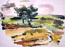 """Curt Wittenbecher 1901-1978 / Aquarell """"Landschaftsstudie (Hitzacker)"""" 5.6.1960"""