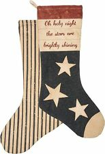 """OH HOLY NIGHT Cotton Canvas Christmas Stocking 19"""", Primitives by Kathy"""