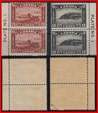CANADA 1930 GEORGE V/HARVESTING/CITADEL plate # PAIRS SC#174-75 MNH CV$300.00++