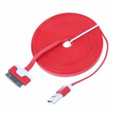 Very Long USB Cable iPhone 4S 4 3G Charger Data Extension Lead Red
