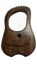 More details for new lyre harp 10 metal strings celtic dragon design/lyra harp welsh dragon + key