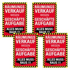 "4er SPARPACK Plakat ""Räumungsverkauf wegen Geschäftsaufgabe"" DIN A1 AUSVERKAUF"