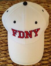 EMBROIDERED FIRE DEPARTMENT NEW YORK FDNY PUFF EMBROIDERY WHITE BASEBALL CAP HAT