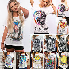 Womens Punk Grunge Printed T-shirts Short Sleeve Casual Tops Blouse Tee UK 6-14