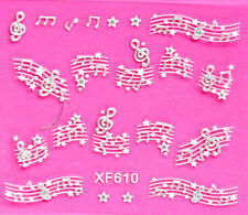 Nail Art 3D Decal Stickers Silver Musical Notes on Bar Staff & Stars XF610