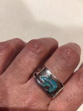 Vintage Southwestern Mens Ring Silver Bronze Bear Genuine Turquoise Inlay