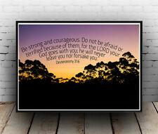 Christian Inspirational Poster - Deuteronomy 31:6 - Brave Love Strong - ALL SIZE