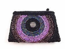 Small beaded bag black purple blue clutch circle zip top 5.5 by 4 inches