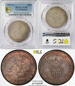 1907-S US/Philippines Peso ~ PCGS AU55 ~ 80% Silver ~ Allen#17.01 ~ 3196
