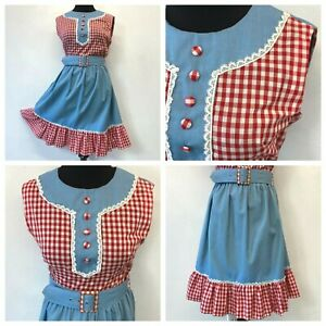 Vintage 1970s Dress Red Gingham size L Blue White Lace Prairie Ruffle w Belt DS5