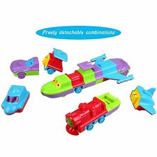 Peradix DIY Assembly Car Boat Train Vehicles Toys Set with Music & Light
