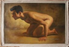 tableau peinture érotique huile sur toile homme nu  / nude male painting
