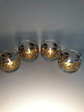 Roly Poly Barware Gold Black Laurel Leaves 4 PC  6 and 8 oz. MCM