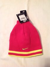 Girls Nike Reversible Hat Cap Beanie with Gloves Hot Pink 2 Pc size 4-6X NWT