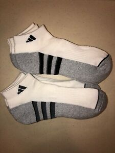 Adidas Men's Cushioned Low Cut Ankle Socks 6 Pairs White Black Stripe 6-12 NEW