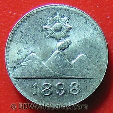 GUATEMALA 1898 1/4 REAL SILVER XF DETAILS! SUN MOUNTAINS 0.7gr 11mm SMALL COIN