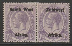 SWA MINT GV 1923 overprint pair 1/3 pale violet setting III sg23
