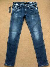 "REPLAY ANBASS Men's Slim Fit Power Stretch Denim Blue Jeans, W34"",L34"", RRP£145"