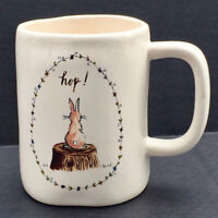 Rae Dunn Artisan Collection Magenta Easter Bunny Rabbit Hop! Ceramic Coffee Mug