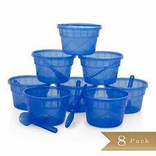 Set of 8 - Blue Plastic Dessert Cups with Matching Spoons - 6 oz Bowls