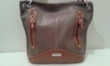 Laura Scott Women's Handbag   Taupe/Cognac  Ostrich Embossed        (LB001K)