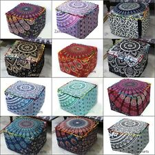 "Indian Mandala 18"" Square Ottoman Pouf Cover Cotton Footstool Seat Case Covers"