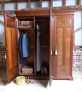 Edwardian triple 3 door mirror burr walnut wardrobe armoire