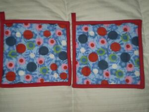"""Quilted Potholder Hot Pads Red Blue Pink Black 8.25"""" Handmade new"""