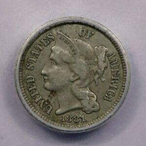 1881-P 1881 Three Cent Nickel ICG EF40 XF40 Details