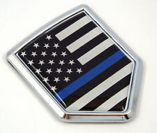 Police USA Thin Blue Line flag Chrome Emblem Car Decal Sticker Bike crest badge