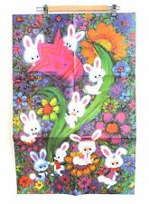 "Sheet of Bunny Vintage Gift Wrap Wrapping Paper Easter 1960s 20"" x 30"" Kids"