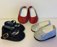 Shoe Lot SILVER RED BLACK GLITTER Shoes for 18 Inch American Girl Doll Clothes