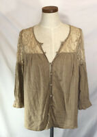 UMGEE Women's Taupe Peasant Boho Button Front Blouse Lace Shoulders Size M