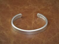 "Mens Gents Solid 925 Silver Heavy ""Vintage Matte Look"" Torque Bangle Bracelet"