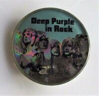 DEEP PURPLE IN ROCK OLD CRYSTAL STYLE METAL PIN BADGE FROM THE 1980's IAN GILLAN