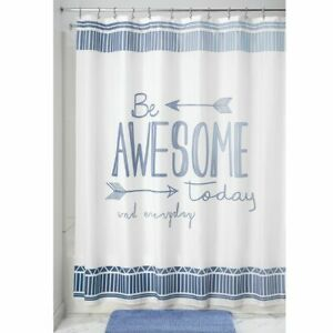 "mDesign ""Be Awesome"" - Easy Care Fabric Shower Curtain - 72"" x 72"" - Blue/White"