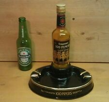 Vintage Seagrams 100 Pipers Scotch Advertising Piece, Ashtray w/ Bottle, MINT!!!