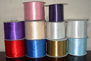 """Satin Sash Ribbon 100mm 4"""" wide Various Colours 2 METRES Sewing quality"""