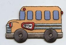 Iron On Embroidered Applique Patch Childrens Yellow School Bus