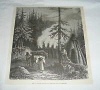 1877 magazine engraving ~ CHARCOAL PITS IN GERMANY