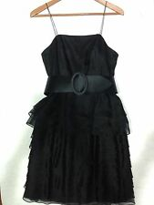 RL Black Ruffle Cocktail Dress With Belt Sz 4 Retail $600