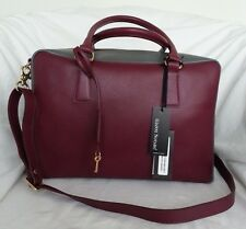 Gianni Notaro Saffiano Leather Two-Tone Bowler Shoulder Bag Made in Italy-NWT