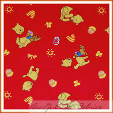 BonEful Fabric FQ Flannel DISNEY Winnie the Pooh VTG Kanga Roo Red Honey Pot Bee