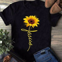 Women Short Sleeve T-Shirt Tops Ladies Sunflower Loose Blouse Top Casual Holiday