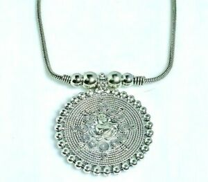 Devotional Ganesha Circular Ball Pendant With Chain Sterling Silver Necklace