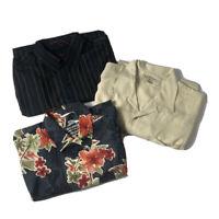 Tommy Bahama Lot of 3 Button Up Shirts Sizes XL Camp Hawaiian 1 Long / 2 Short