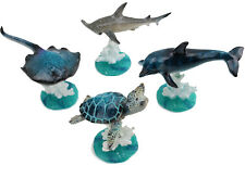 [Set of 4] Wiggles Sea Turtle, Sting Ray, Dolphin, Shark on Coral Reef Figurines