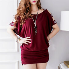 Women Fashion Korean Style Leisure Strapless Loose Dress Package Hip Mini LJ
