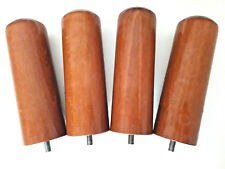 Lot de 4 PIEDS DE LIT cylindriques en merisier (H = 20 cm)