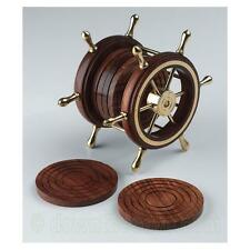 6 Hardwood Coasters in Ships Wheel Holder - Brass & Wood - Great Nautical Gift